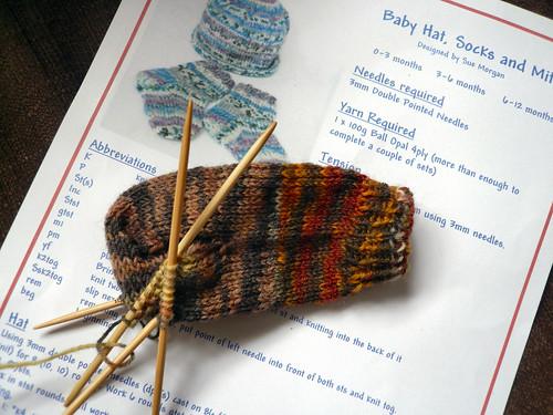 sock wool from Farnham in progress