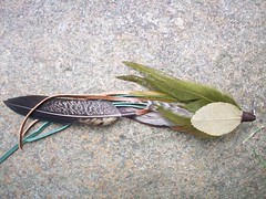 PURA VIDA single feather earring, layers of green, brown leather with earth tones color scheme feathers (piecemaker jewelry) Tags: earthtones bohemianchic piecemakerjewelry singlelongfeatherearring