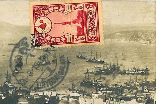 Istanbul, vue panoramique du port et du Bosphore en 1919 - détail