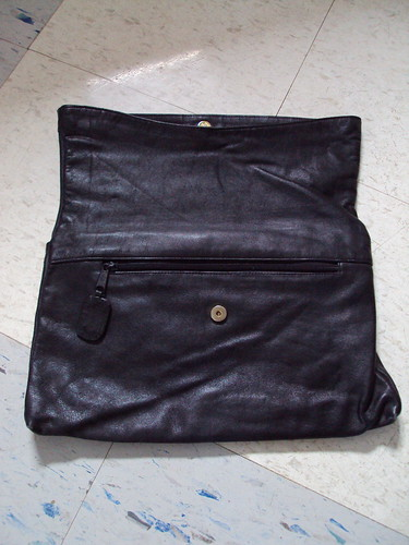 Foldover Black Leather Clutch (inside)