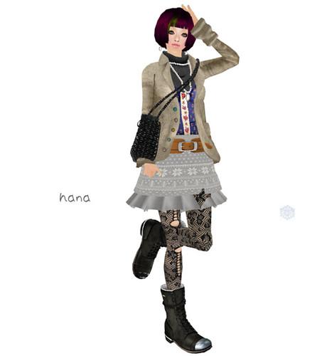 *evergreen*Nordic-knit-skirt<gray>
