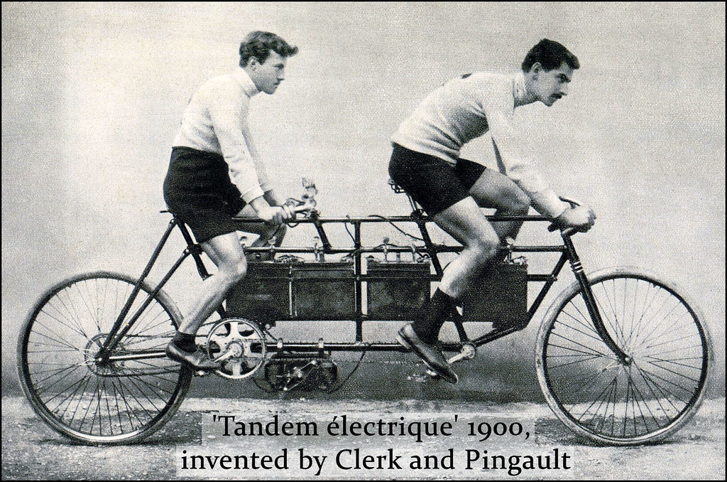 French Electric Tandem around 1900, ridden by Dacier & Jalabert