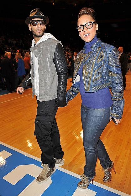 Swizz Beatz and Alicia Keys attend the Miami Heat vs New York Kn by sweetlopez