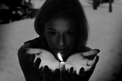 in the gloaming (princessinboots) Tags: winter light selfportrait snow girl outdoors fire candle flame backlit insideabarn frigginfreezing saralynnpaigeactions