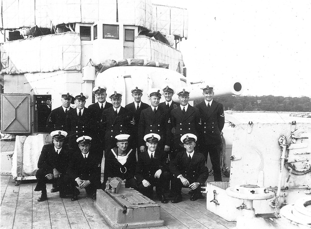 THE HMAS ADELAIDE PROJECT with Graeme Andrews. Petty Officers of the ship, Circa 1940 - Photo GKAC.