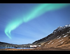 Aurora Borealis - Nordurfjordur - Iceland (Arnar Bergur) Tags: ocean blue houses light sea sky mountain snow green canon lights harbor iceland village sigma aurora northern 1770 norurfjrur sland northernlights auroraborealis borealis vestfirir westfjords 30d rneshreppur arneshreppur visipix