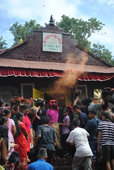 Chicken beheading ceremony at Darshain festival (amazing_tina) Tags: chicken religion clothes colourful hindu bangles religiousceremony nepaliwoman darshainfestival chickenbeheaded brightcoloursinteresting festivalfestivalnepalnepaliblood flyingchickenshenstempletraditional