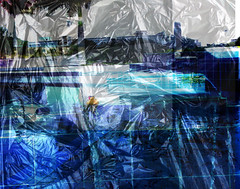 Crumpled (soniaadammurray - On and off will try to keep up!) Tags: trees abstract pool landscape duck experimental digitalphotography garbagebags 2008octoberpictures