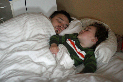 cosleeping father and son