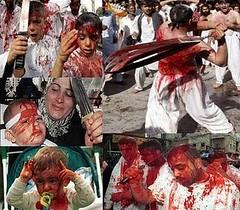 Criança sangrando no ritual xiita Ashura