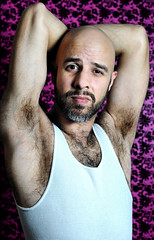 Get into the Groove (miserablespice) Tags: hairy white man male men guy armpit hair very body guys tanktop vest scent masking extremely armpits odour wbw