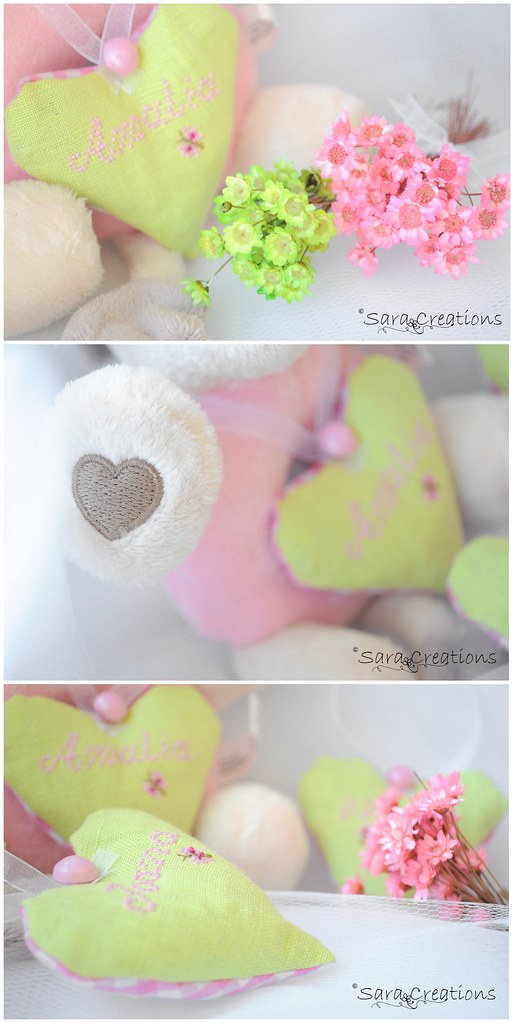 pink & light green hearts