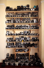 Obsession (monkeymillions) Tags: camera uk japan germany lens polaroid geek kodak rangefinder obsession 11 cine collection zenit ttl 12 russian lightmeter shelves ilford yashica ocd minister collector instamatic ensign zenith lenses sx cameraporn collected quarz bencini bellhowell standard8 toomuchtooyoung