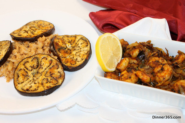 Day 44 - Spicy Shrimp Roast, Cauli Rice and Roasted Eggplant