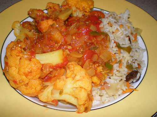 Spicy Indian Rice with Toasted Almonds; Braised Cauliflower with Three Seed Sauce