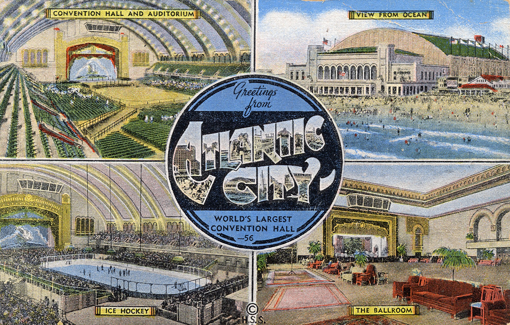 Greetings from Atlantic City, New Jersey, World's Largest Convention Hall - Large Letter Postcard