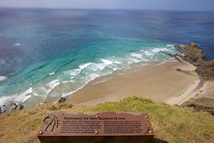 Cape Reinga, New Zealand's nothern tip (MarkMeredith) Tags: sea lighthouse signs tourism beach bay sand aperture surf lookout nz coastline northland viewpoint information capereinga