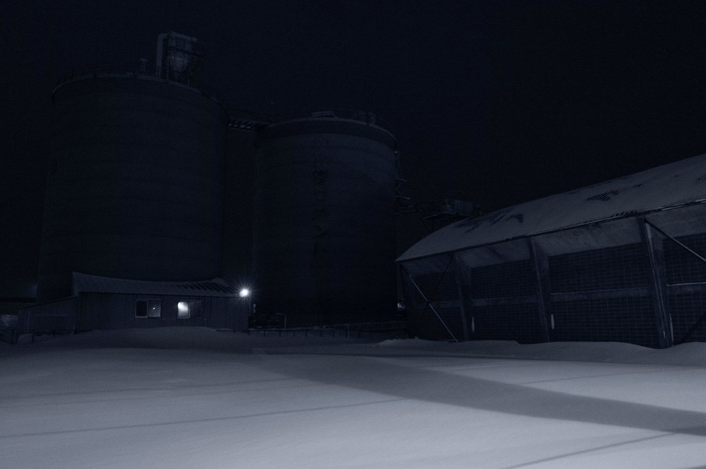 Cement plant in the dark