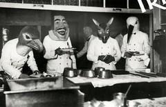 Carnaval, gemaskerde obers / Mardi Gras, waiters wearing masks (Nationaal Archief) Tags: carnival kitchen germany mnchen costume mask carnaval waiter duitsland 1933 mardigrass ober kostuum masker beieren