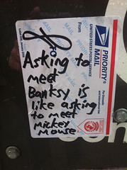 Asking to meet Banksy (-Curly-) Tags: streetart graffiti sticker stickerart stickers curly