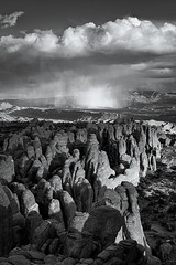 Storm Clouds Over Fiery Furnace, Utah (bretedge) Tags: blackandwhite usa southwest nature monochrome clouds landscape utah unitedstates desert scenic arches northamerica moab archesnationalpark storms nationalparks lasalmountains coloradoplateau fieryfurnace bretedge