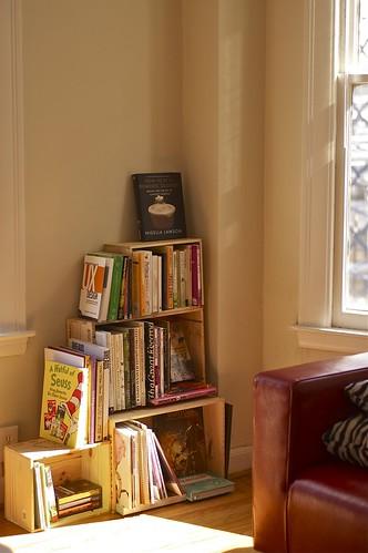 My bookshelf made of wine boxes