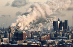 [Free Image] Architecture/Building, City/Town, Factory/Machine, Tall Building, Chimney, Russia, Moscow, 201102241900