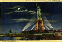 Statue of Liberty illuminated at night (ho_hokus) Tags: newyork vintage linen postcards statueofliberty
