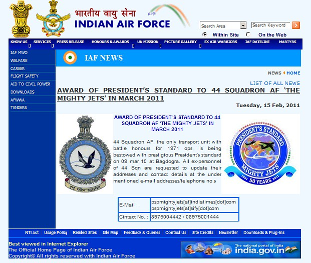 Airliners India :: View topic IAF Sqd. 44 50th Anniv