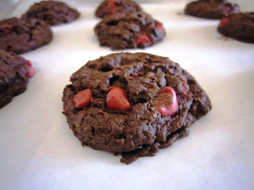 Cherry Chip Chocolate Cookie on Parchment, take three