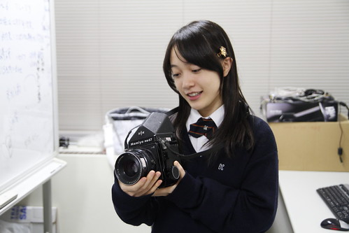 Arisa testing the Mamiya RB67