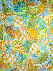 Circle Quilt -- Freeform Quilting (Julie Antinucci) Tags: yellow modern turquoise circles sewing curves morocco cotton quilting target borders kaffefassett amybutler brightgreen snowflower queensized heatherbailey designerfabric freeformquilting denadesigns circlequilt niceyjane