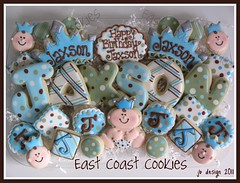 First Birthday - Little Prince platter (East Coast Cookies) Tags: blue brown cookies decoratedcookies birthdaycookies crowncookies babyboycookies firstbirthdaycookies greenpolkadotscookies littleprincecookies babyprincecookies