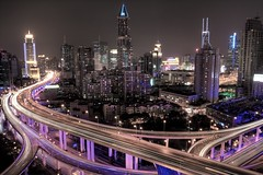 shanghai lights (alexander reneby lithman) Tags: china road longexposure pink urban car skyline night lights highway neon skyscrapers purple shanghai traffic  elevated  hdr peoplessquare    elevatedroad