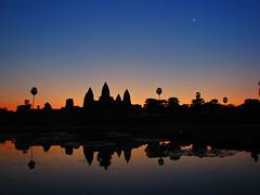 Sunrise-Angkor Wat-Siem Reap-Cambodia (mikemellinger) Tags: old orange sun moon reflection water stone architecture sunrise temple ancient cambodia southeastasia angkorwat unesco siemreap anawesomeshot