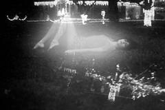 was there light? (messyowl) Tags: christmas portrait blackandwhite bw white house black lauren grass self lights glow bokeh messyowl