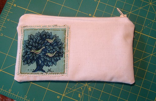 Zippered Pouch with Birds in Tree