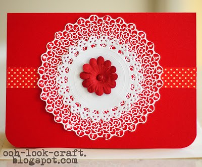 Red lacey birthday card