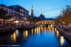 Leiden during blue hour / Botermarkt / Oude Rijn (zzapback) Tags: bridge blue holland river