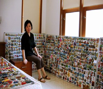 sinta and her magnet collection