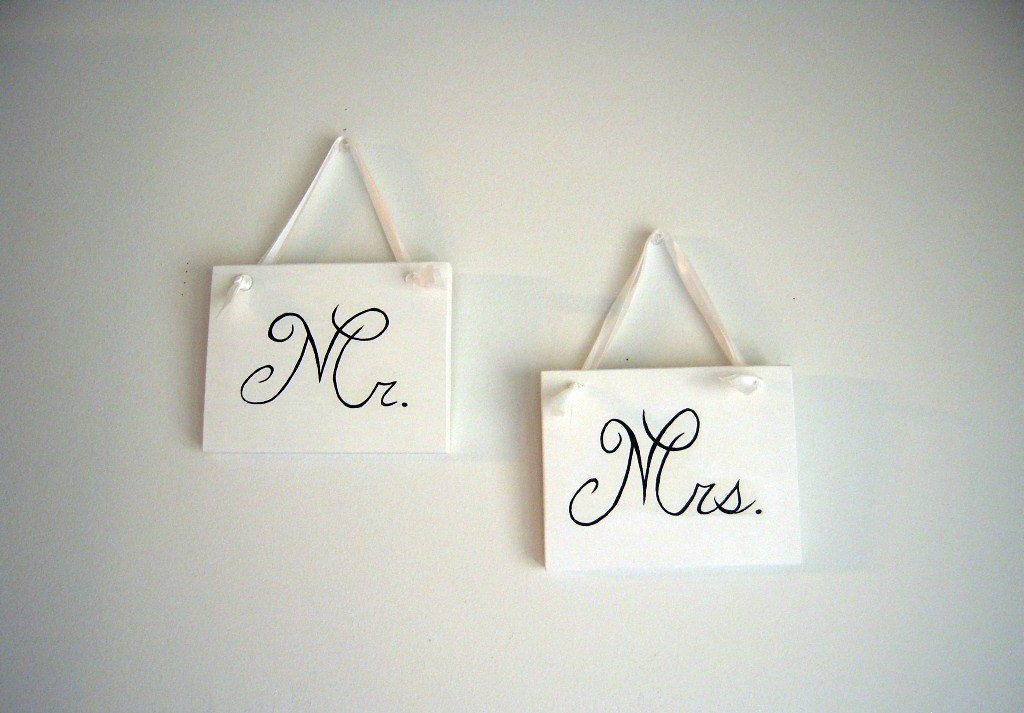 Shabby chic primitive wedding signs mr. and mrs. chair signs