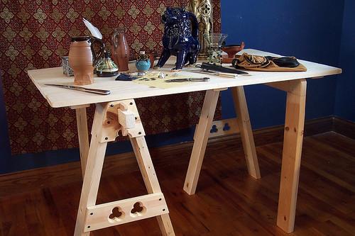 wood trestle history work table furniture medieval historic replica decor reenactment