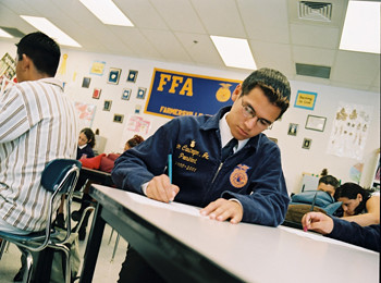 "During National Agriculture Week, agriculture groups are coming together to recognize and promote agriculture's numerous contributions to America. This images represents a ""Census at School"" project.  This is an interactive program for FFA members to access and analyze data from around the world."