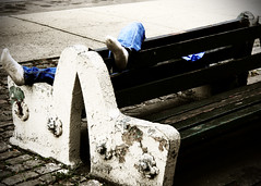 Unconscious Foot Fetish (mheidelberger2000) Tags: nyc newyorkcity blue urban feet public socks brooklyn drunk fetish bench foot sleep humor dirty jeans exploitation williamsburg gothamist unconscious intoxication outcold