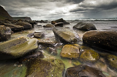 Garie Pebbles (J.Shultz Photography) Tags: ocean longexposure sea colour beach water rain clouds coast rocks soft long exposure moody south dramatic pebbles cliffs boulders nsw newsouthwales southcoast wattamolla garie gariebeach wattamollacliffs