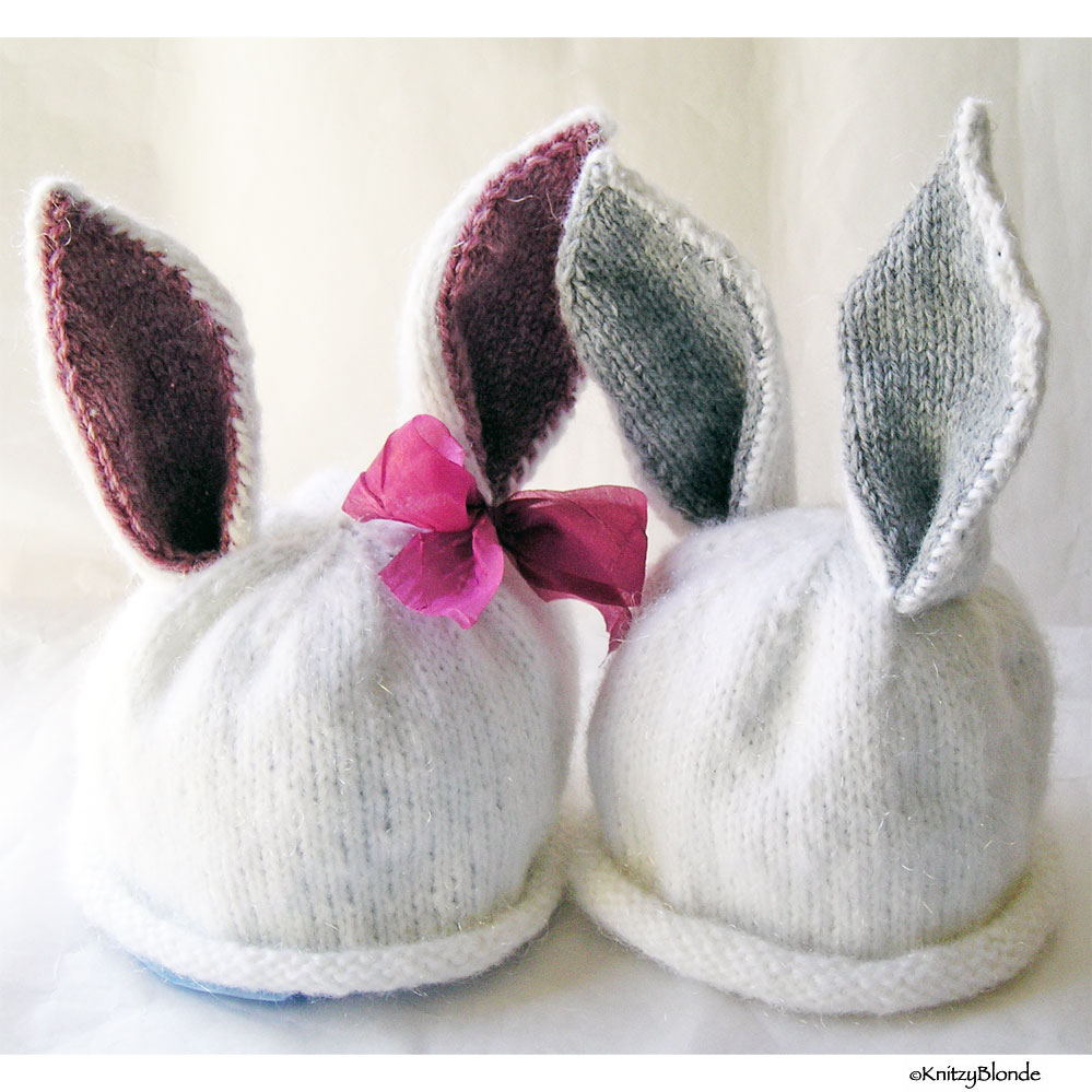 Hand Knit Easter Baby Bunny Hats - Girl & Boy