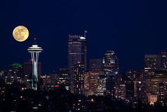Super Moon Superimposed on Seattle (metadata man) Tags: seattle composite skyline night fullmoon spaceneedle supermoon march182011