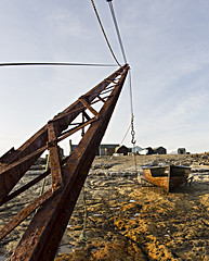 Crane and Boat (thecheekyscamp) Tags: clouds boat crane wide perspective fisheye portlandbill