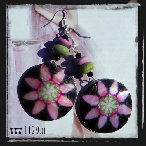 MCFUNE orecchini madreperla fiore nero turchese fucsia verde pink green turquoise mop flower silver earrings by orecchini