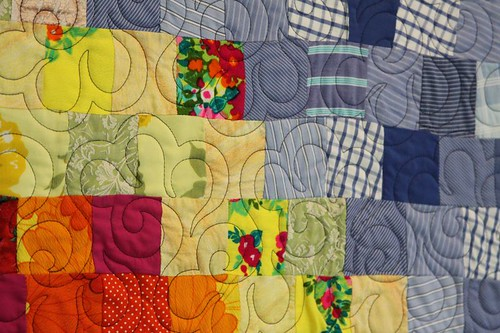 recycled fabric quilt, memory quilt, recycled clothing quilt, mamaka mills 2